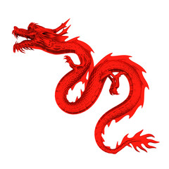 Red dragon head left top