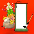 Hopping Sheep And Big Kadomatsu With Enpty Scroll On Red