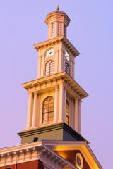 Clock tower in Baltimore downtown in the early winter morning