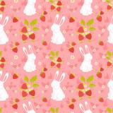 Cute rabbits and wild strawberries folk seamless pattern