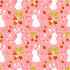 Cute rabbits and wild strawberries folk seamless pattern
