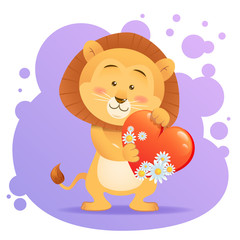 Lion pet isolated holding heart