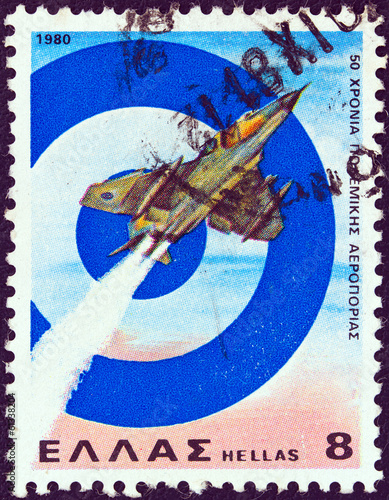 Mirage III Jet Fighter and Greek Air Force emblem (Greece 1980)