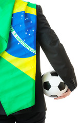 Back view of businessman hold soccer ball with brazil flag
