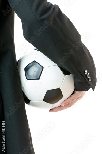 Back view of businessman hold soccer ball
