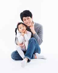 Happy Asian father and daugther.