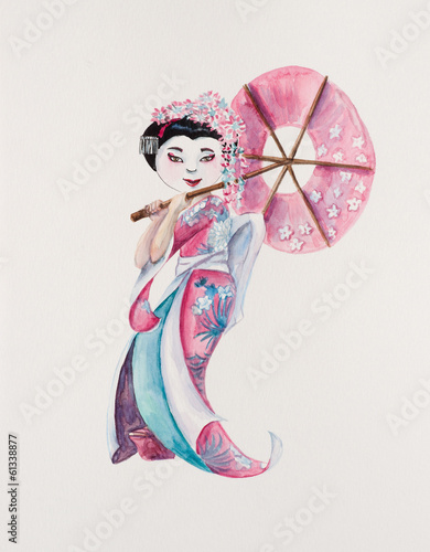 Geisha. The Japanese woman in a national suit