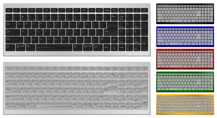 Realistic art of keyboard with 100 keys in 7 colors