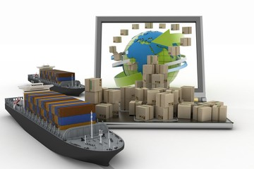 Cardboard boxes around globe on laptop and two cargo ships