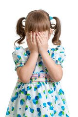 scared or crying or playing bo-peep kid hiding face