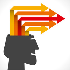 creative info-graphics or arrow out from men head concept vector