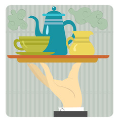 Tray with coffeepot, cup and cream are on the waiter's hand