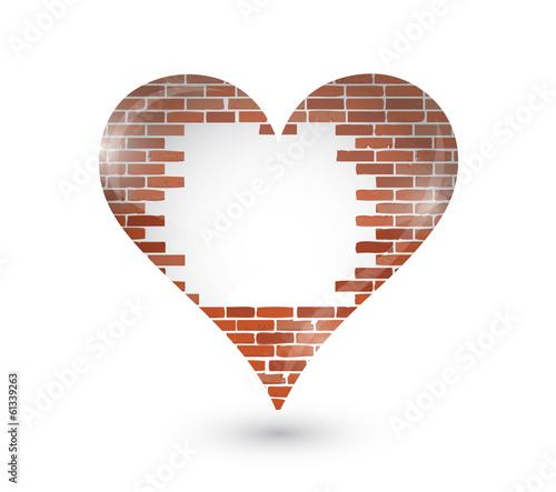 brick wall hole on a heart. illustration design