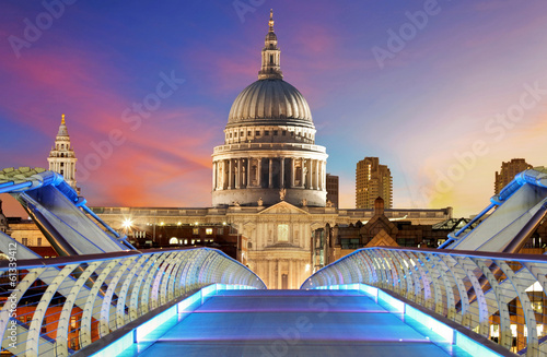 Millennium Bridge leads to Saint Paul's Cathedral in central Lon