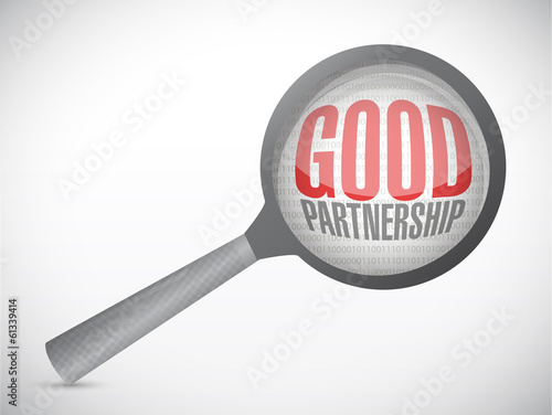 good partnership and magnify glass. illustration
