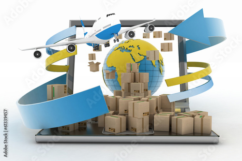 Cardboard boxes around globe on laptop screen and airplane