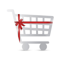 shopping cart and gift warped illustration design