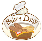 A baked daily label with a basket of breads