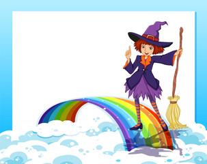 An empty template with a fairy and a rainbow
