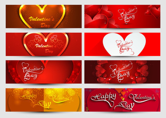Valentine's day header colorful collection background vector ill