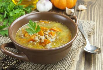 Lentil soup with pumpkin