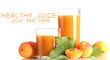 two glasses of apricot juice and apricots with leaves isolated