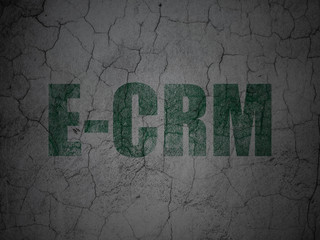 Finance concept: E-CRM on grunge wall background