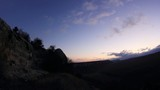 Timelapse sunrise in the mountains. Cave city Eski-Kermen,