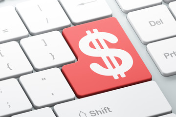 Currency concept: Dollar on computer keyboard background