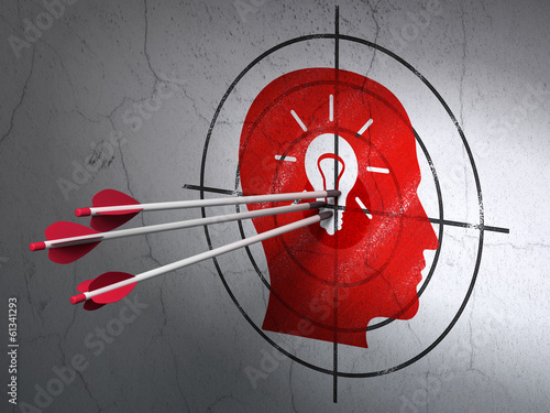 Marketing concept: arrows in Head With Light Bulb target on wall