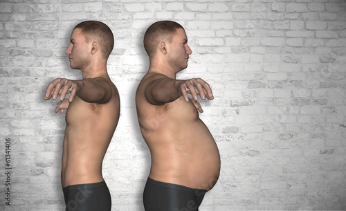 Human man slim and fat concept