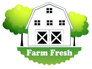 A fresh farm label with a farmhouse