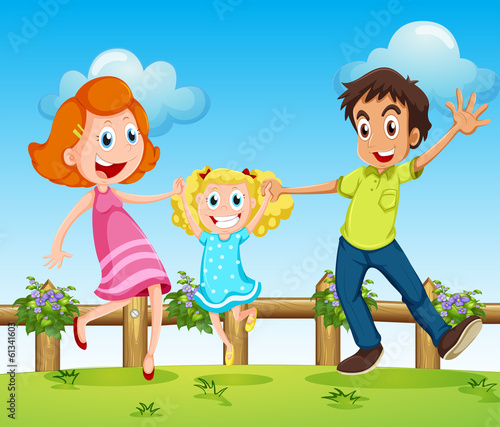 A happy family above the hills with a fence