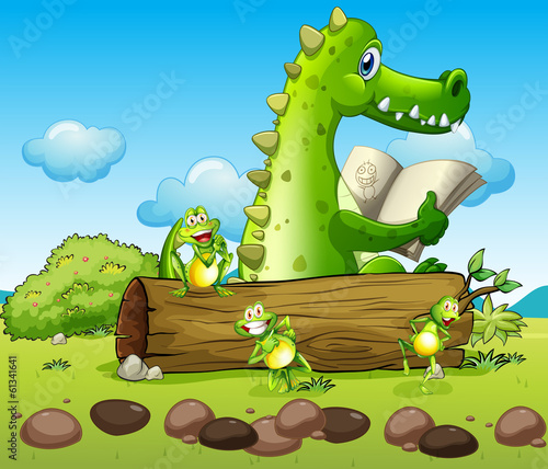 A crocodile and the three playful frogs