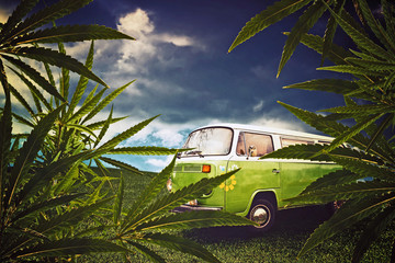 Hippie van and marijuana leaves