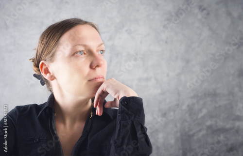 Portrait of beautiful woman thinking