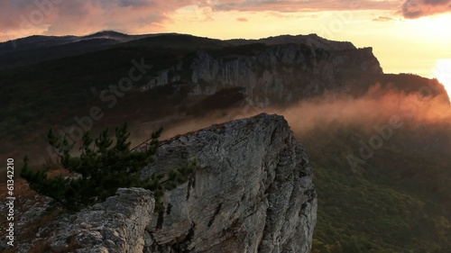 Timelapse sunrise in the mountains Ai-Petri.