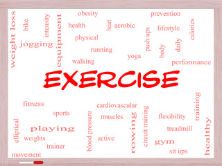 Exercise Word Cloud Concept on a Whiteboard