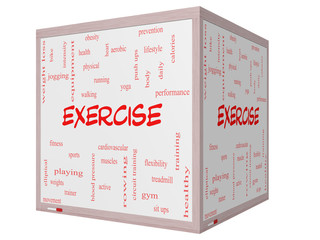 Exercise Word Cloud Concept on a 3D cube Whiteboard