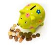 Porcelain piggy bank and coins