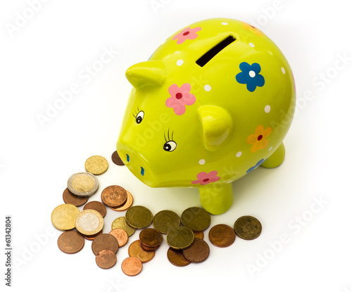 Porcelain piggy bank and coins