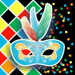 Carnival mask on harlequin background