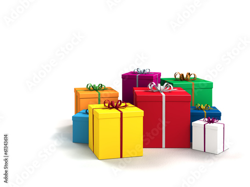 a lot of bright colorful gifts on white background