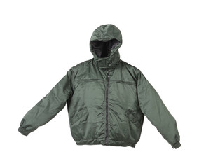 Green male working jacket with hood.