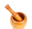 Wooden mortar with pestle.