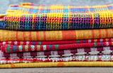 Stack of colorful textiles