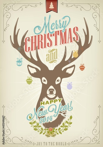 Vintage Christmas Background With Deer