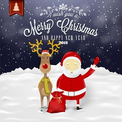 Funny Christmas Card With Santa Claus, Deer, Snowman And Bear