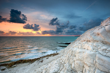 English white cliffs at sunset