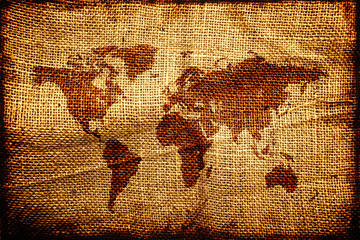 Old world map on hesian sack texture